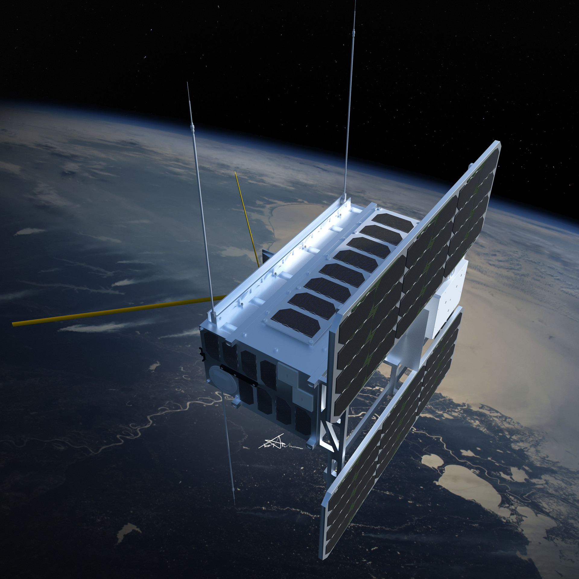 Artists view of the Norwegian satellite Norsat-1 in orbit with all instruments extended.